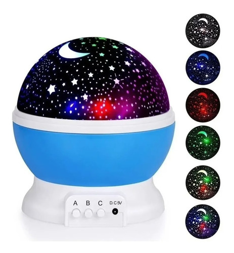 Velador Luz Proyector Estrella Giratorio Recargable Usb Rosa