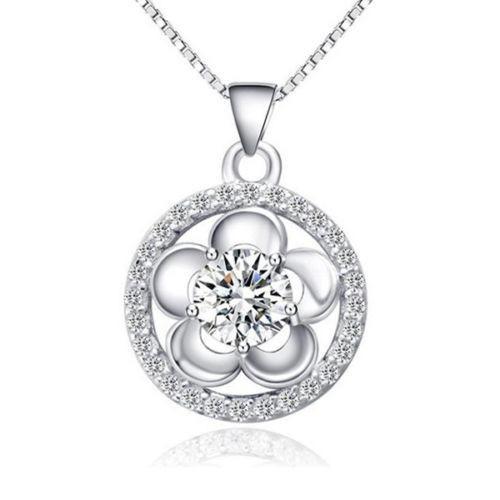 Collar De Mujer En Plata Esterlina Cristal Cristalino