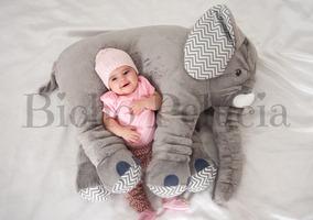 Almofada Travesseiro Elefante Pelúcia Cinza Chevron 67cm