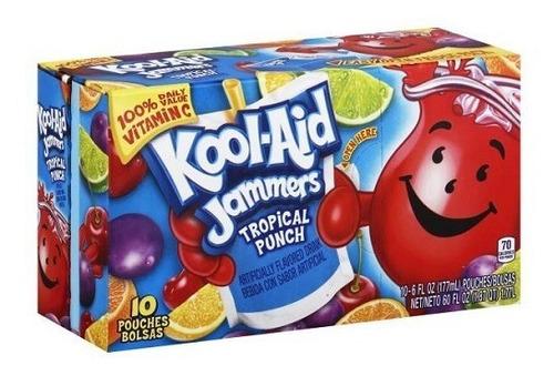 Imagen 1 de 2 de Kool Aid Jammers Tropical Punch Fruta Importado Pack 10pzas.