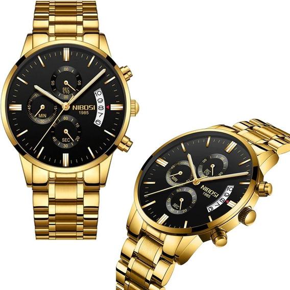 Relógio Nibosi Homem Original Dourado Masculino Super Oferta