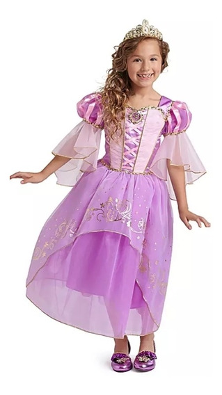 Vestido Disfraz De Rapunzel+accesorios Disney Store