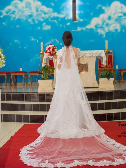 Vestido De Noiva Semi Sereia Decote Nas Costas Veste 38/40.