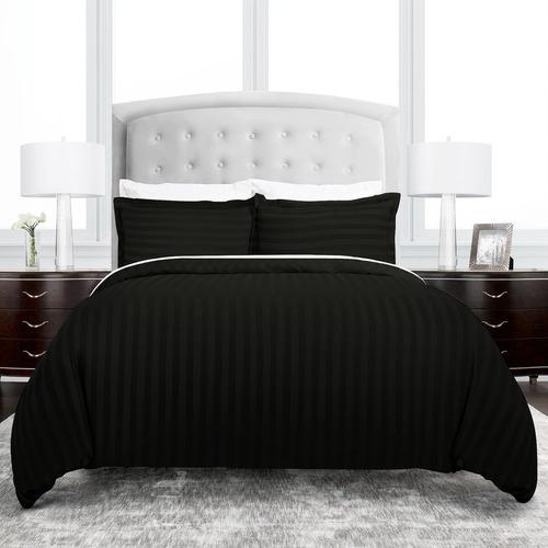 Imagen 1 de 7 de Set Duvet 8 Pzas Negro Líneas Microfibra Queen