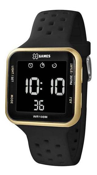 Relogio Masculino Dourado Digital Quadrado X-games Esportivo Pulseira De Silicone