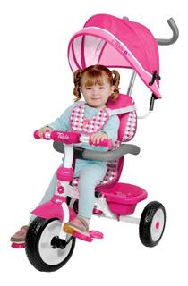 Triciclo 3 Etapas Flying Whells Toldo Y Mango Direccionable