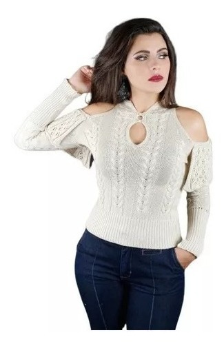 Blusa Feminina Estilosa Com Abertura No Ombro Inverno 2019