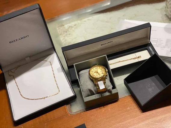 Reloj Guess Color Oro, Cadena De Oro14k Y Pulsera De Oro 14