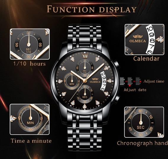 Relógio Masculino Olmeca Preto Luxo Original C/ Caixa
