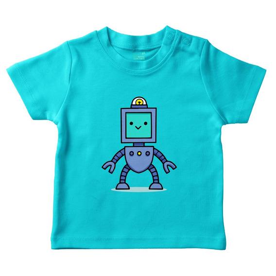 Playera Turquesa Bebé Robot M/c Varias Tallas Plash Envío
