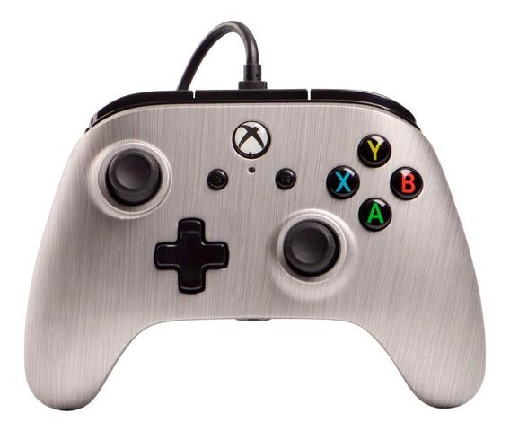 Controle joystick PowerA Enhanced Wired Controller Xbox One brushed aluminum