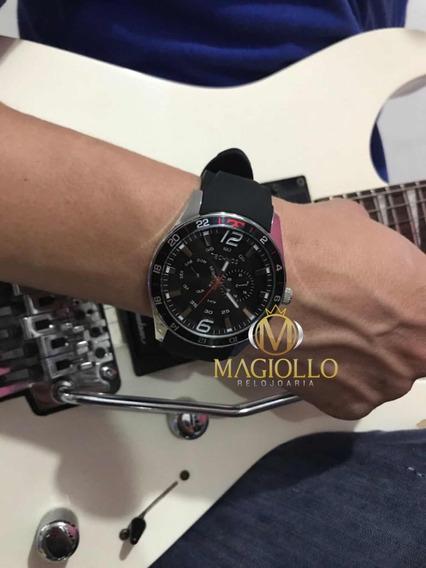 Relógio Technos Masculino Racer 6p25bn/8p Pulseira De Borracha Preto Original C/ Garantia