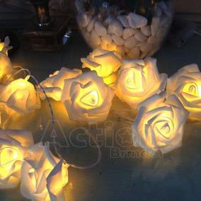 Cordão 20 Rosas Brancas Com Leds Warm