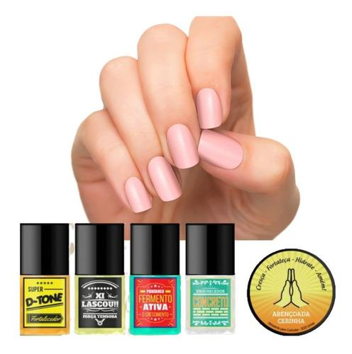 Kit Sos Unhas Top Beauty Com 4 Bases E 1 Cerinha