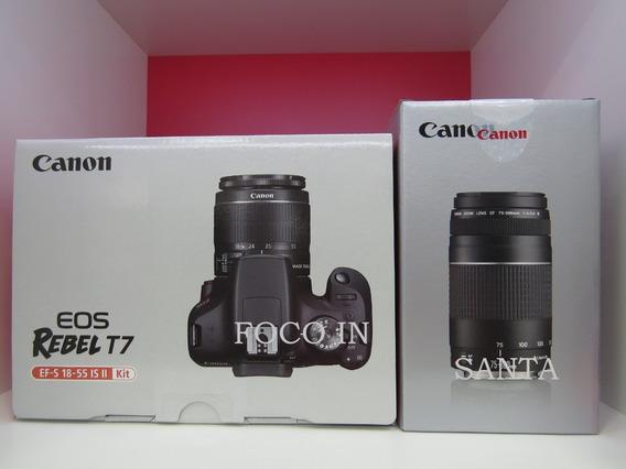 Camera Canon T7 C/18-55 + 75-300 +16gb Brinde Pronto Entreg