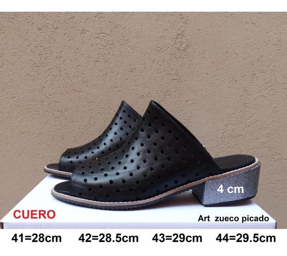 Zueco Picado De Cuero - Taco 4cm- Talles Grandes 41 42 43 44