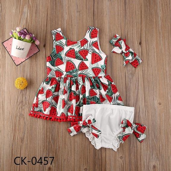 Conjunto Pañalero Y Vestido Para Niña Estampado De Sandía