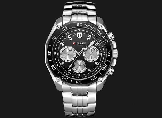 Relógio Casual Masculino Curren 8077 Pulseira Aço Inoxidável