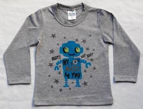 Camisa Infantil Masculina Manga Longa Com Estampa