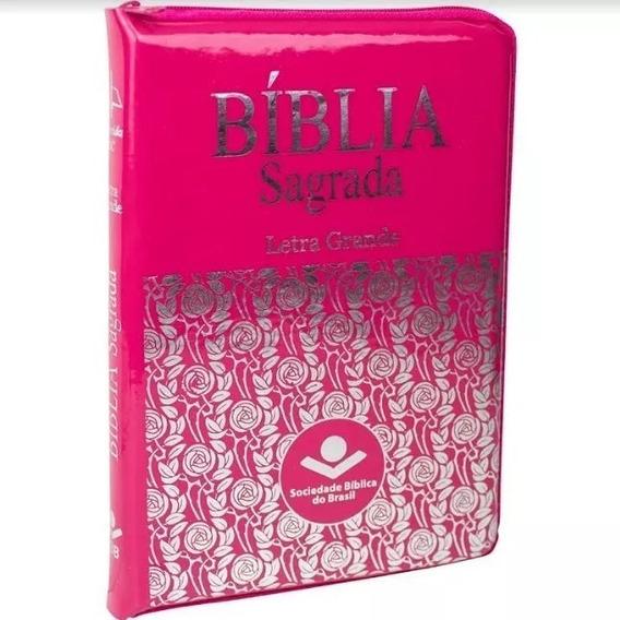Bíblia Sagrada Letra Grande Com Ziper E Índice Pink Fina