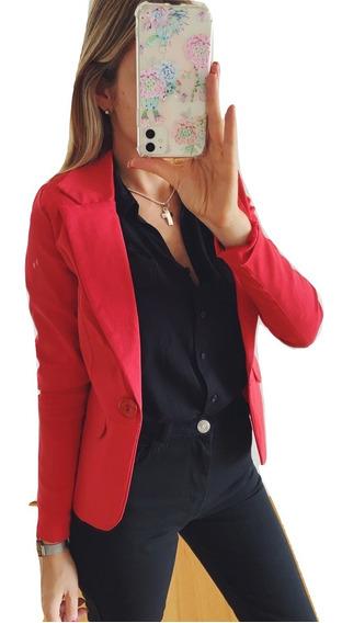 Saco Blazer Mujer Largo Entallado Forrado Dama Negro Blanco Rojo Talles Verano Invierno