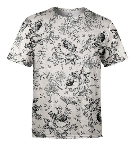 Camiseta Masculina Flores Selvagens Estampa Digital