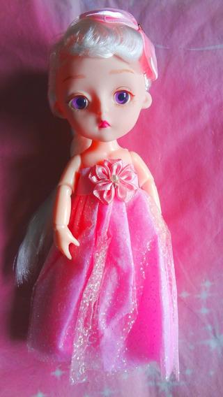 Muneca Articulada Bebe Con Vestido Rosa