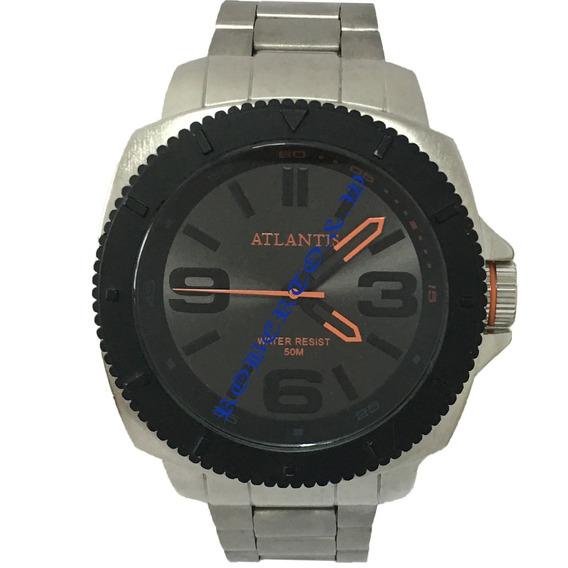 Relógio Atlantis Original Masculino Pulseira De Aço + Caixa