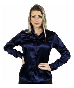 1 Kit 5 Camisas Femininas Cetim C/ Elastano - Pimenta Rosada