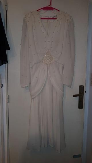Vestido Crepe Natural Talle L