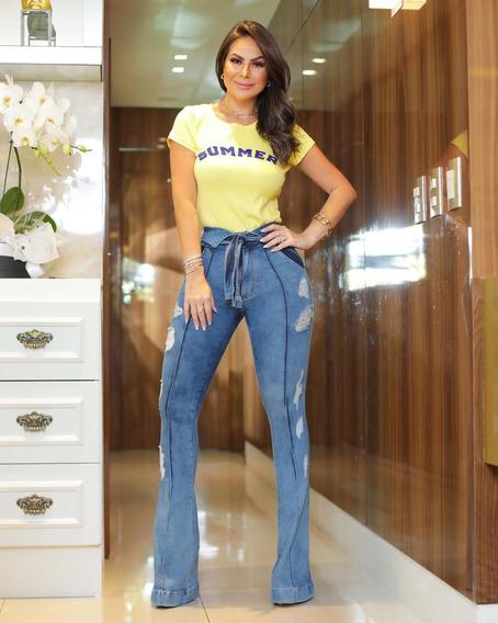 Calça Flare Feminina Jeans Cos Alto