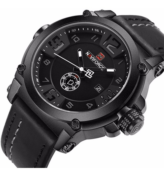 Relógio Masculino Militar Esportivo Couro Naviforce Original