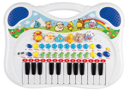 Piano Teclado Musical Infantil Azul Gravador Sons 6407