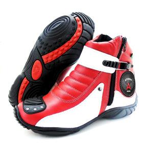 Bota Para Motociclista Vermelha E Branca - Lançamento