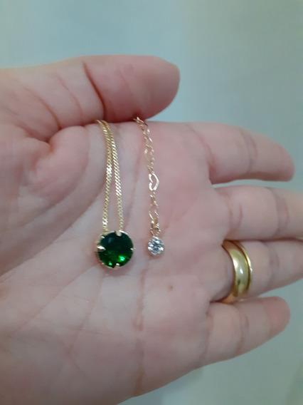 Colar Gargantilha Folheado Redondo Pedra Fusion Verde