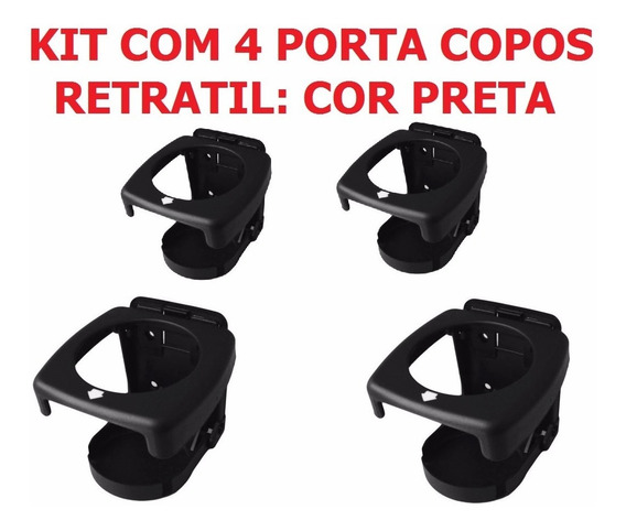 Kit C/ 4 Porta Copos Retrátil Dobravel Barcos Lanchas Carros