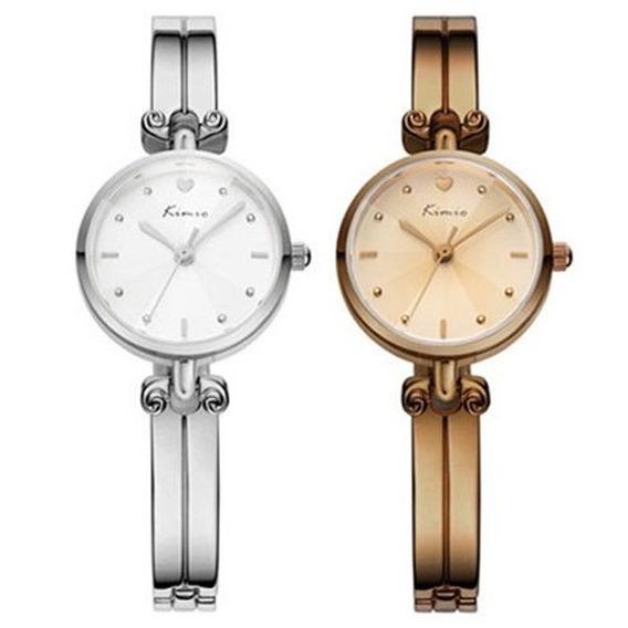 Relógio Feminino De Marca Kimio 6041 Original Prata Marrom