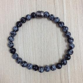 Pulseira Masculina Pedra Obsidiana