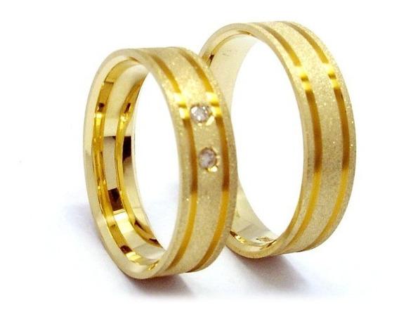 Joianete Aliança Ouro18k 6gr(par) 2diamantes-casamento