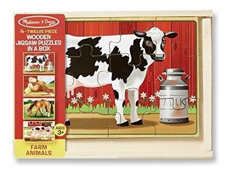 Melissa  Doug Farm Rompecabezas De Madera 4 En 1 En Una Caja