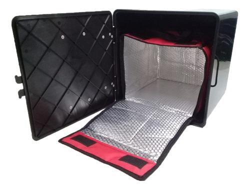 Caja Delivery 40x40 Bolso Termico Pizza + Zunchos + Mascara