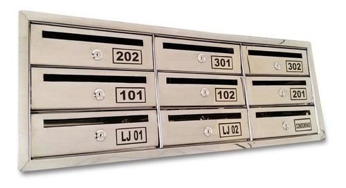 Caixa Correio Inox P/condomínio C/abertura Frontal - 7 Aptos