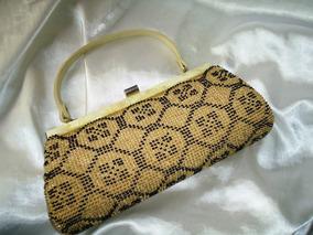 Belíssima,rara Bolsa Vintage Miçangas/tecido,itália,déc.60