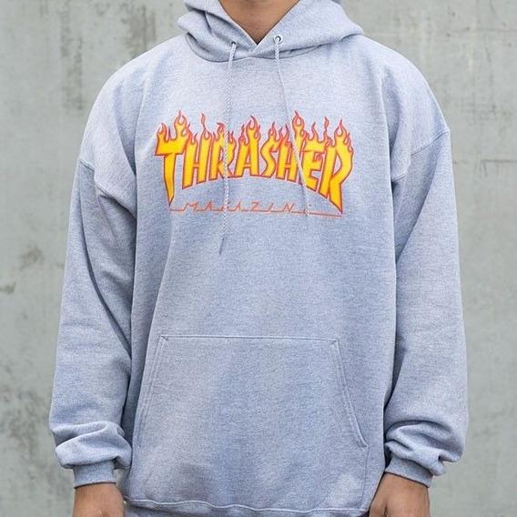 Thrasher Buzo Canguro Capucha Bolsillo Unisex Skate Flamas