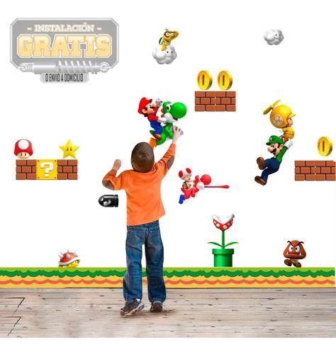 Vinilo Infantil Mario Bros Decora Niño + Instalacion O Envio