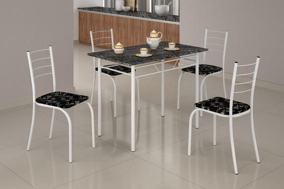 Conjunto Mesa Com 4 Cadeiras Para Cozinha Rio Teixeira Branca