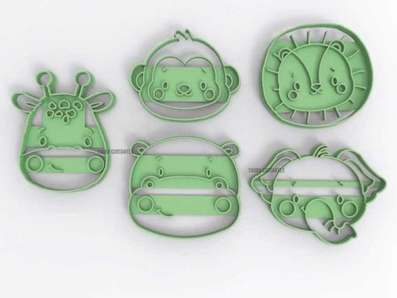 Molde Cortante Galletita Cookie Selva Infantiles Kit 5 U