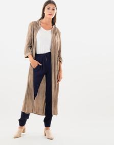 Kimono Midi Marrón Desteñido