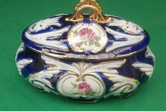 Caixa Antiga Cahepot Em Porcelana Com Tampa Pedreira Azul