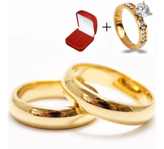 Par Alianças Casamento Moedas Antigas 6mm + Anel Solitário